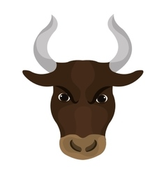 Angry bull face with big horns vector