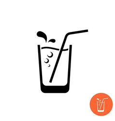 Glass of water or juice black icon glass with vector