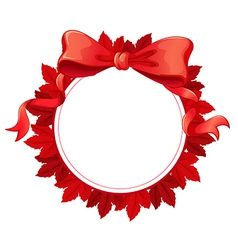 A round template with a red ribbon vector