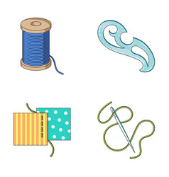 A spool with threads a needle a curl a seam on vector