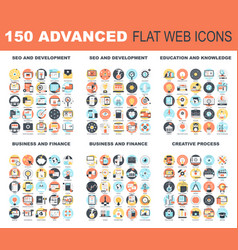 advanced flat web icons vector image vector image
