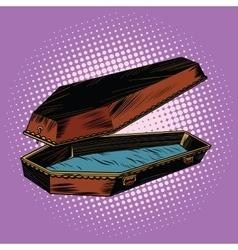 antique wooden coffin is open vector image