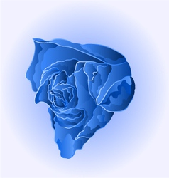 Blue flower beautiful rose simple symbol of love vector image vector image