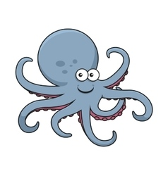 Blue octopus with curved tentacles vector image vector image
