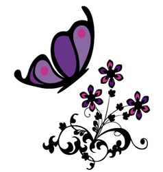 Butterfly with flowers vector
