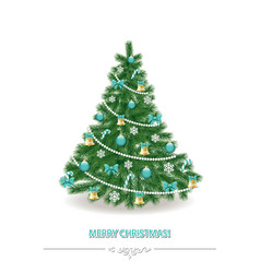 Christmas tree traditionally decorated realistic vector