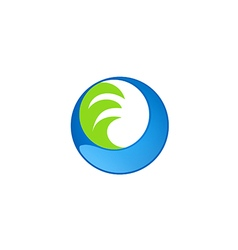 Circle water wave technology logo vector