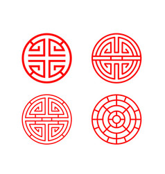 Classic chinese circle window frame in vector