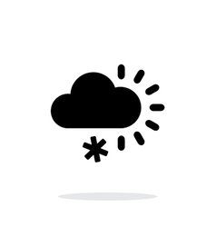 Cloudy with snow weather icon on white background vector image vector image