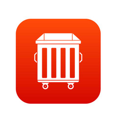 Dumpster on wheels icon digital red vector