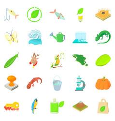 ecology icons set cartoon style vector image