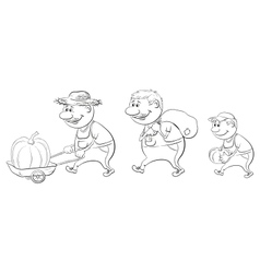 Farmers with the harvest of pumpkins outline vector image vector image