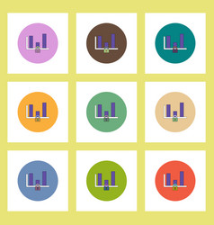 Flat icons set of column chart and lock concept on vector