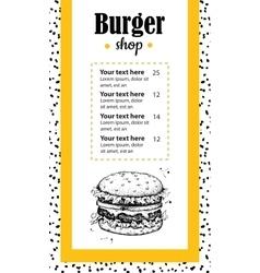 hand drawn burger menu Vintage hand drawn vector image vector image