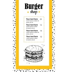 Hand drawn burger menu vintage hand drawn vector