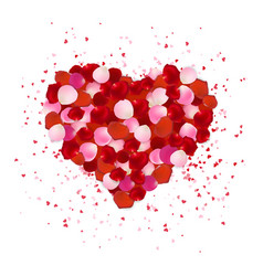Heart shape made out of rose petals isolated on vector