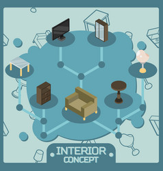 Interior color isometric concept icons vector