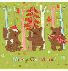 merry christmas bear vector image vector image