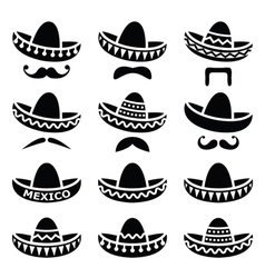 Mexican sombrero hat with moustache icons vector