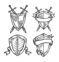 old or retro medieval royal signs as shields vector image vector image