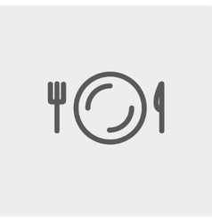 Plate knife and fork thin line icon vector image