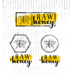 raw honey creative sign concept organic vector image