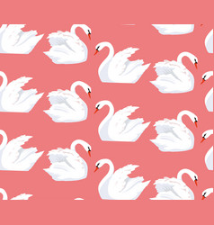 seamless pattern with a pair of lovers swans vector image vector image