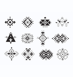 Set of ethno tribal aztec symbols geometric vector
