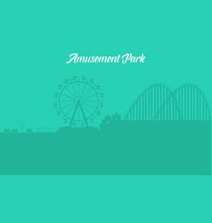 silhouette of amusement park landscape vector image vector image