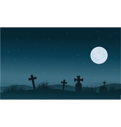 Silhouette of Halloween tomb and full moon vector image