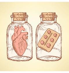 Sketch medical set in vintage style vector
