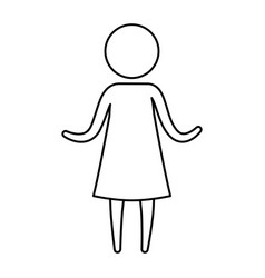 sketch silhouette of pictogram woman in dress with vector image vector image