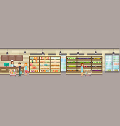 Supermarket store with goods big shopping center vector