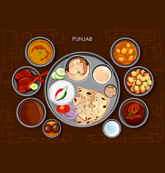traditional punjabi cuisine and food meal thali of vector image vector image