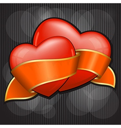 valentines day two heart with orange ribbon eps 10 vector image vector image