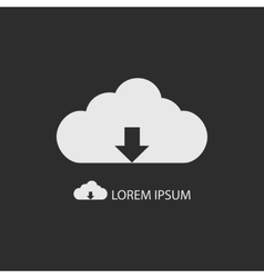 White cloud with downloading sign as logo vector
