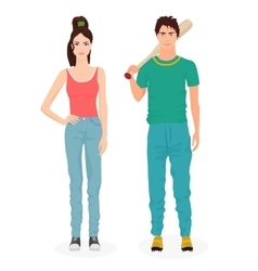Young people in casual clothes teen guy and girl vector