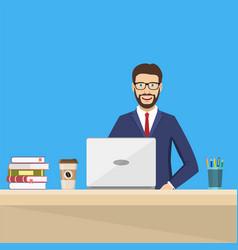 business man sitting desk working laptop vector image