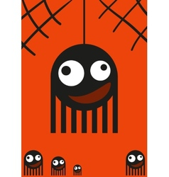 Cute monsters spiders on web halloween card vector