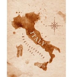 Map Italy retro vector image