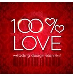 Bright red wedding design element vector image