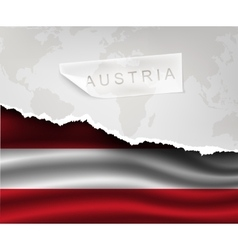 Paper with hole and shadows austria flag vector