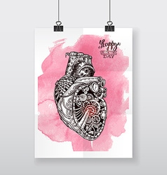 Beautiful hand-draw poster mechanical heart vector
