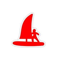 Icon sticker realistic design on paper windsurfing vector