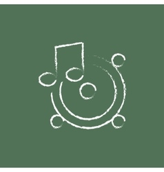 Loudspeakers with music note icon drawn in chalk vector