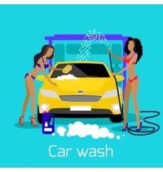 Girl car wash flat concept icon vector