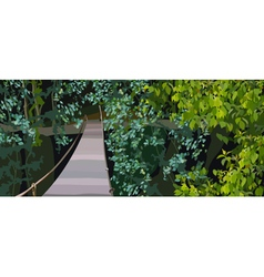 Hinged bridge in forest undergrowth vector