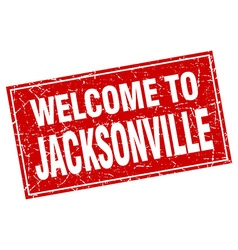 Jacksonville red square grunge welcome to stamp vector image