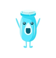 Milk plastic bottle character vector