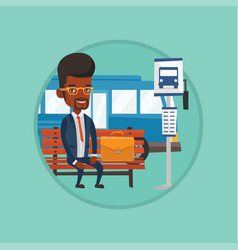 businessman waiting for bus at the bus stop vector image vector image